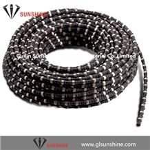 China 11.5mm Rubberized Diamond Wire Saw for Granite Quarry,Diamond Wire Rope for Granite Cutting