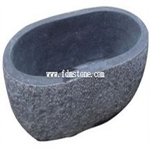 Antiqued Design Style Oval Black Granite Luxury Bath Tub Decorative Indoor Stone Bathtub for Sale