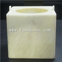 Artificial Honey Onyx Stone Round Candle Holder