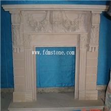 Beige Caved Stone Fireplace