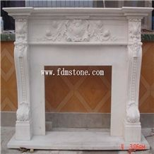 Beige Marble Freestanding Electric Fireplace