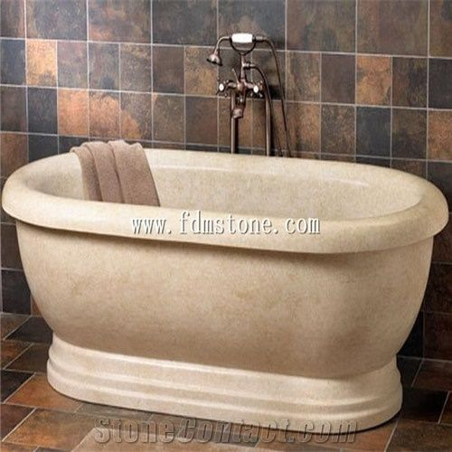 beige yellow travertine polished bath tub, massage bathtub, shower