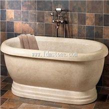 Beige Yellow Travertine Polished Bath Tub, Massage Bathtub, Shower Bathtubs Surround, Bathtubs Decks