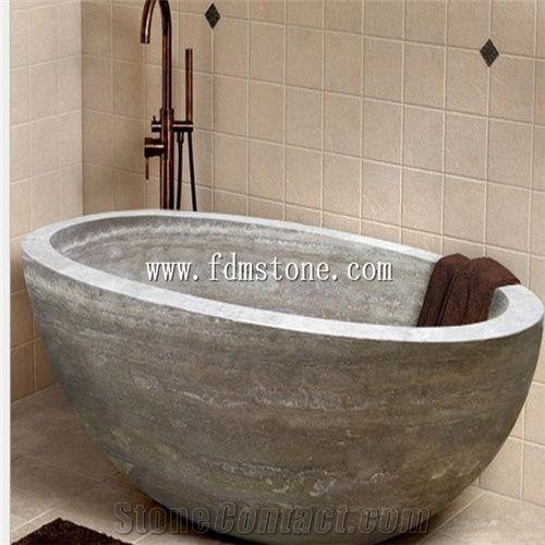 Beige Yellow Travertine Polished Bath Tub Massage Bathtub