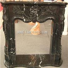 Black Marble Carved Fireplace Mental