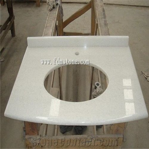 Crystal white super white marble polished vanity top - Engineered stone bathroom countertops ...