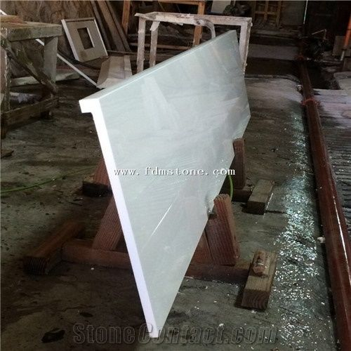 Eco Friendly Recycled Glass Countertops Nano Crystallized Glass Stone Bath  Top,Pure White Bar Counter Material Nano Crystallized Glass Stone