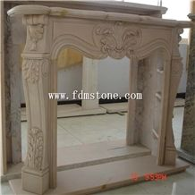 European Style Beige Yellow Limestone Honed Stone Carved Fireplaces Surround Design, Ireland Fireplace Accessories, Indoor Wall Mounted Fireplaces Mantels