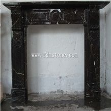 European Style Nero Marquine Black Marble Stone Carved Fireplaces Surround Design, Ireland Fireplace Accessories,Indoor Wall Mounted Fireplaces Mantels