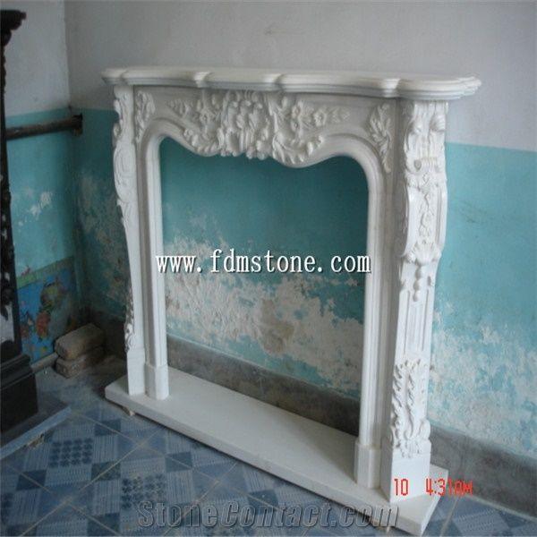 European Style White Quartzite Stone Carved Fireplaces