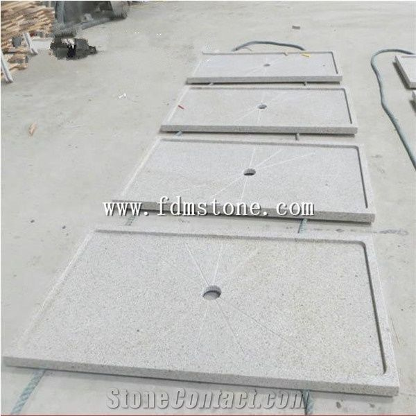 Flamed China G682 Yellow Rusty Granite Bathroom Tub Surround Stone Shower Pannel Solid Surface Bases Square Trays