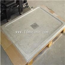 Honed Cream Marble Square Shower Tray Bathroom Stone Shower Base Prices