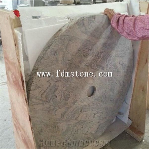 Natural Pink Granite Round Bathroom Shower Tray Solid Surface