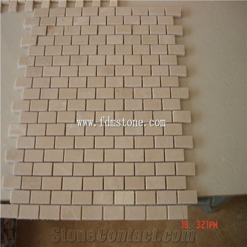 Single Piece Natural Stone Effect Travertine Wall Tile L: Natural Stone Mosaic, Water Jet Mosaic Tile For Bathroom