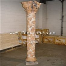 Pink Marble Residence Pillar Design Natural Stone Marble Column for Sale