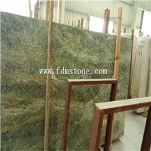 Rainforest Green Marble Flooring Tiles,Polished Walling Tiles,Big Slab Hotel Project Decoration
