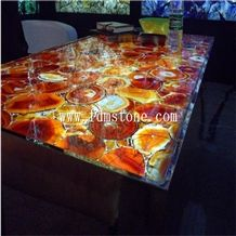 Wall Design Onyx Color Translucent Backlit Artificial Semiprecious Stone Tabletops