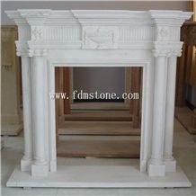 White Marble Freestanding Electric Fireplace