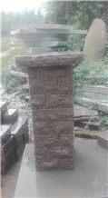 G354 Red Granite Gate Columns, Fence, Gate Pillars