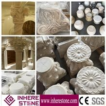 Roman Design Crown Molding Pillars for Decorative, White Marble Sculptured Columns