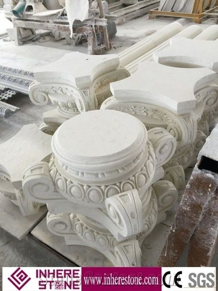 Roman Design Crown Molding Pillars for Decorative, White Marble