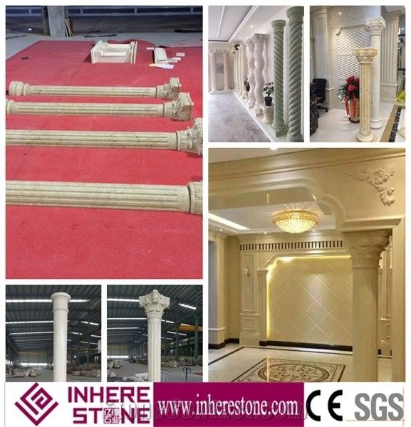 Roman Design Crown Molding Pillars for Decorative, White Marble