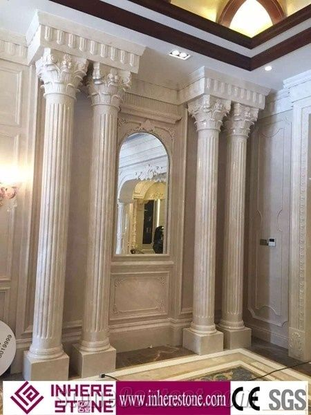 White Marble House Pillars Design, Roman Pillars Column