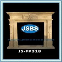 Natural Stone Fireplace, Henan Gold Yellow Marble Fireplace