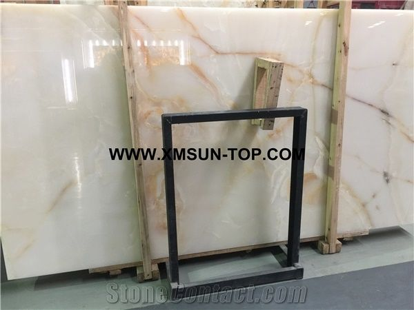 White Onyx With Brown Veins Slabsonyx Stone Flooringonyx Covering