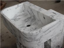 Carrara White Marble Wash Basin, Rectangle Sinks