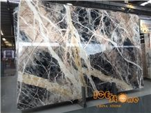 China Black Jungle Marble Tiles & Slabs/Chinese Trump Black Yellow Wall Covering/Floor/Desk/Table