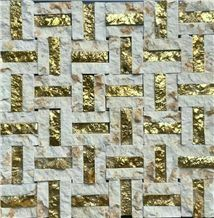 High Quality Natural Marble Mosaics with Metal Material /Natural Stone Mosaics/Mosaics with Flower Shape/Wall Mosaic/Floor Mosaic/Mosaic Pattern/Composited Mosaic/High Grade & Best Price