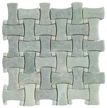 Light Green Jade Onyx Mosaic/Basketweave Mosaic Pattern Tiles for Bathroom Walling Decoration/Crystal Green Marble Mosaic/Composited Mosaic/High Quality & Best Price Mosaic/Hot Sale China Green Mosaic
