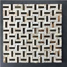Natural Marble Mosaics with Metal Material /Natural Stone Mosaics/Mosaics with Flower Shape/Wall Mosaic/Floor Mosaic/Mosaic Pattern/Polished Honed Mosaic/Composited Mosaic/High Quality & Best Price