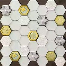 New Popular Natural Marble Mosaics with Metal Material /Natural Stone Mosaics/Mosaics with Flower Shape/Wall Mosaic/Floor Mosaic/Mosaic Pattern/Composited Mosaic/High Quality & Best Price