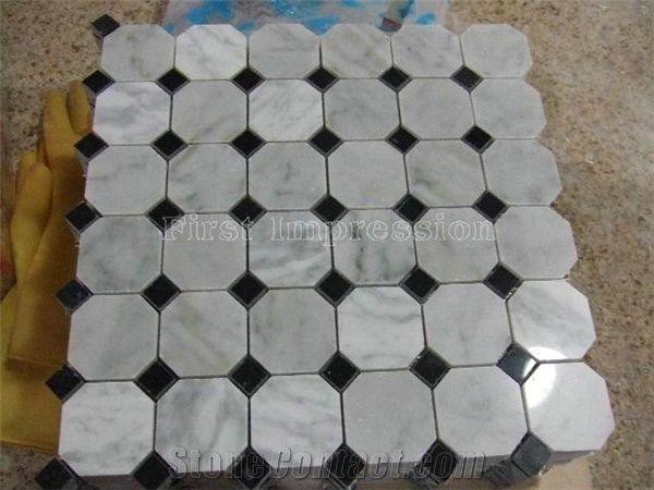 White Carrara Marble Tiles Octagon White Marble Mosaic Tiles