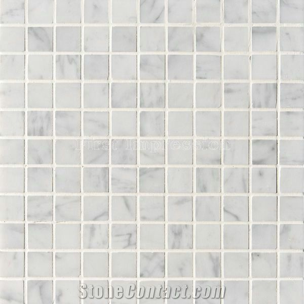 White Marble Tumbled Mosaic Tiles Carrara Mosiac For Bar First Impression Imp Exp Co Ltd