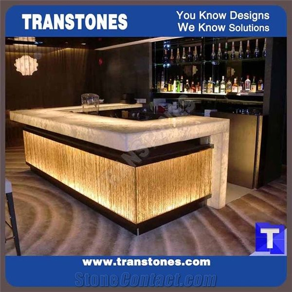 Commercial Bar Counter Hotel Reception Table Illuminated
