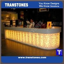 Curved Led 3d Waterjet Carving Relief Design Artificial Marble Bar Tops,Reception Desk,Engineered Glass Stone White Club Worktop,Table Bench Top,Wine Counter Tops Solid Surface