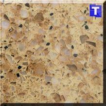 High Quality Corian Light Brown Quartz Stone Tiles,Engineered Stone Sheet,Tile,Slab for Kitchen Countertop,Bath Top,Vanity Top,Edges Customized-Transtones