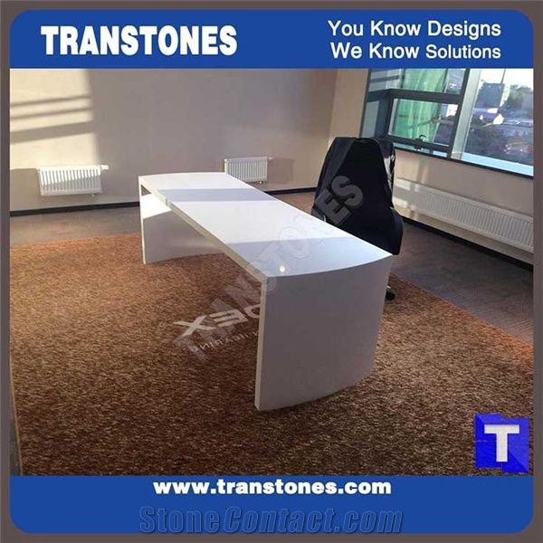 Exceptional White Artificial Marble Stone Solid Surface Office Desk,Interior Furniture  Manmade Stone White Office Table,Modern Design Transtones Customized