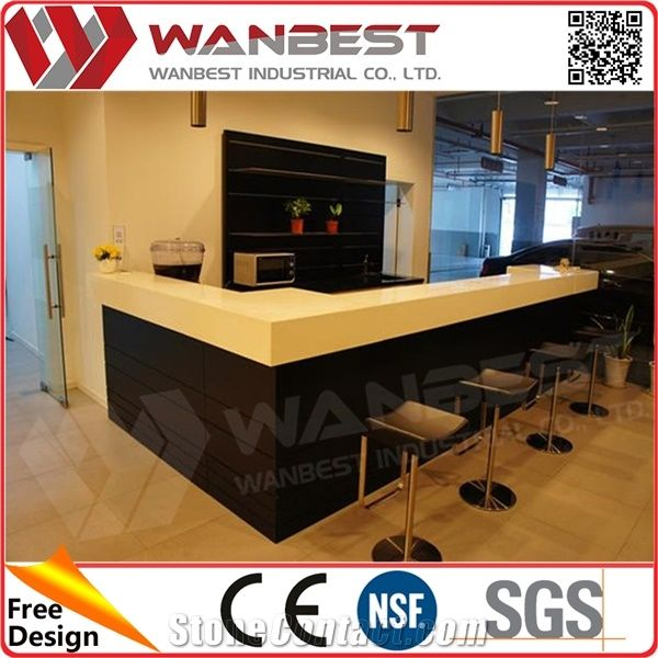 Home Bar Counter Design Artificial Stone Marble Top Hotel Bar Counter With  Bar Stools