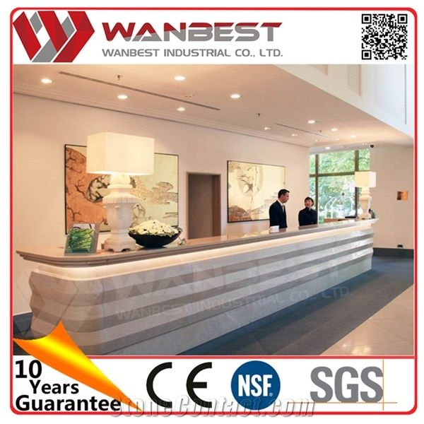 Modern Office Reception Counter Design Front Desk For Hotel Artificial Marble Top Bill