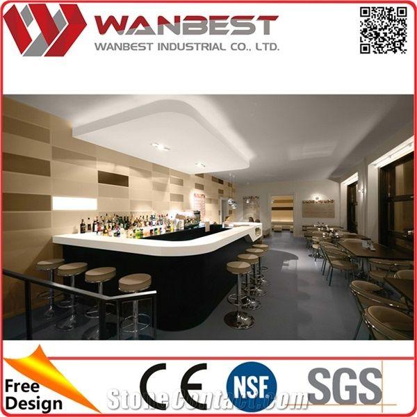 Modern Restaurant Bar Counter Design Customized Solid Surface Coffee ...