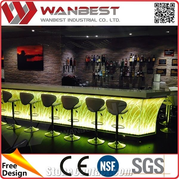 Quality White Artificial Marble Bar Counter Top Customized ...