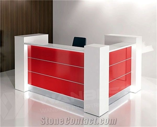 White And Red Solid Surface Office Reception Front Desk Counter Design  Small Cashier Counter