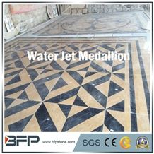 Beige Marble Medallion, Black Marble Medallion, Marble Water Jet Medallion or Water Jet Pattern, Floor Medallion for Background Wall and Wall Tile in Hall O Lobby