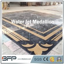 Black and Beige Marble Medallion, Marble Water Jet Medallion, Marble Water Jet Pattern, Square Medallion, Floor Medallion, Wall Cladding, Background Wall