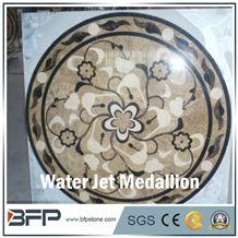 Brown Marble Medallion,Coffee Marble Medallion, Marble Water Jet Medallion or Water Jet Pattern, Floor Medallion, Rosettes Medallion for Wall Tile and Floor Tile