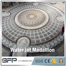 Brown Marble Medallion, White Marble Medallion, Marble Mosaic Medallion, Marble Water Jet Medallion, Marble Water Jet Pattern, Round Medallion, Floor Medallion, for Floor Covering